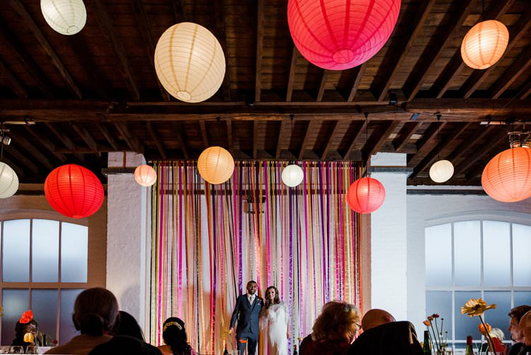 Ribbon Multicolour Backdrop Paper Lanterns Bright Very Colourful Quirky Fun City Wedding London http://www.babbphoto.com/