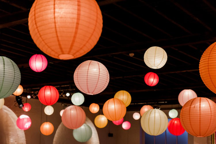 Multicolour Paper Lanterns Orange Pink Green Bright Very Colourful Quirky Fun City Wedding London http://www.babbphoto.com/