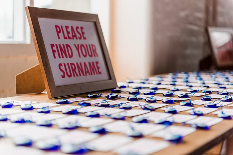 Table Plan Escort Card Greek Evil Eye Bright Very Colourful Quirky Fun City Wedding London http://www.babbphoto.com/