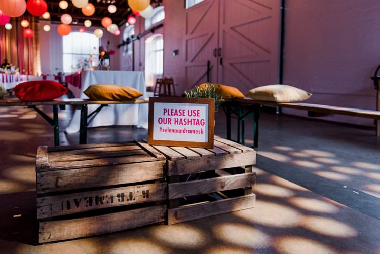 Rustic Fruit Crate Hashtag Social Media Benches Bright Very Colourful Quirky Fun City Wedding London http://www.babbphoto.com/