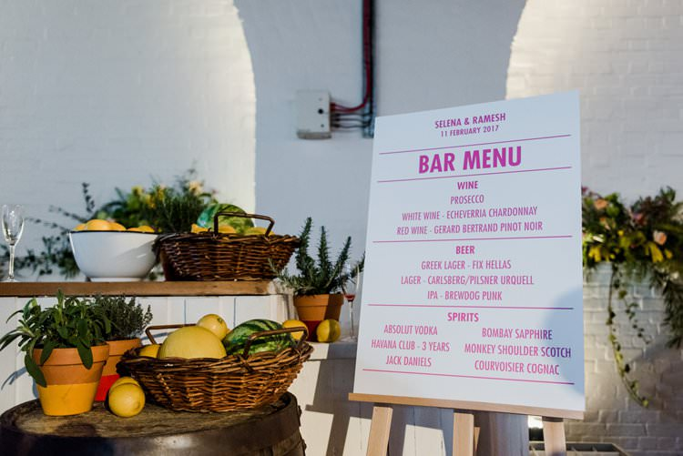 Bar Menu Fruit Terracotta Display Basket Easel Bright Very Colourful Quirky Fun City Wedding London http://www.babbphoto.com/