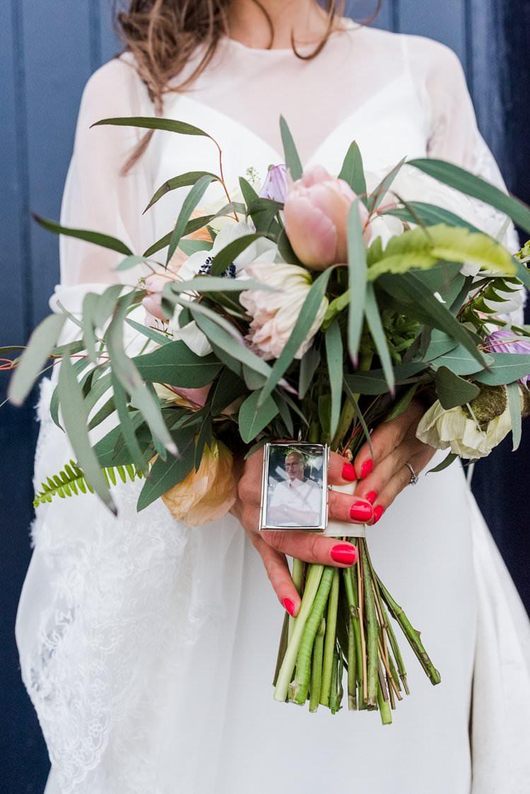 Bride Bridal Bouquet Foliage Memento Charm Bright Very Colourful Quirky Fun City Wedding London http://www.babbphoto.com/