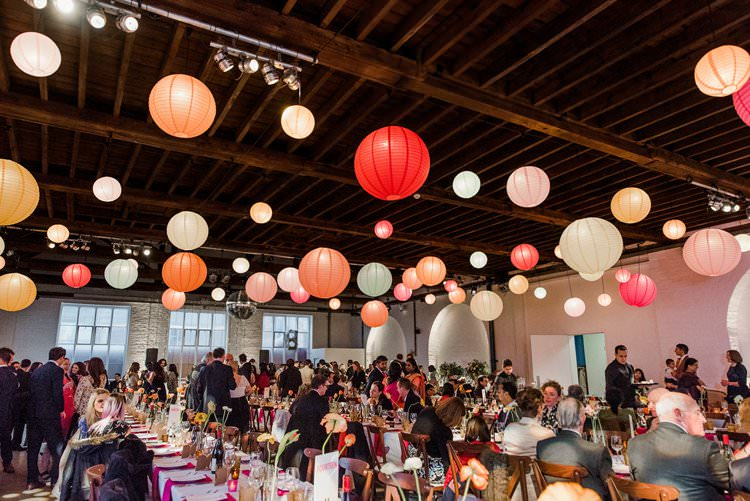 Reception Paper Lantern Multicolour Bright Very Colourful Quirky Fun City Wedding London http://www.babbphoto.com/