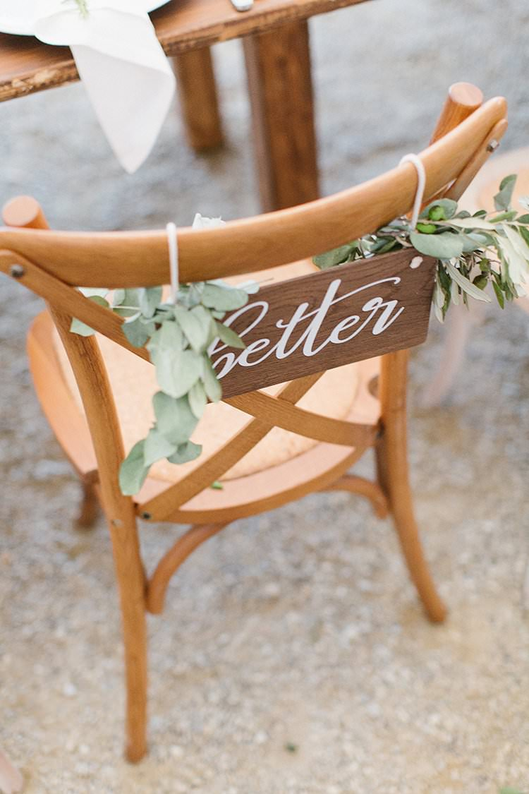 Wooden Chairs Signs Bride Groom Better Together Romantic Scenic Tuscany Destination Wedding http://ilariapetrucci.co.uk/