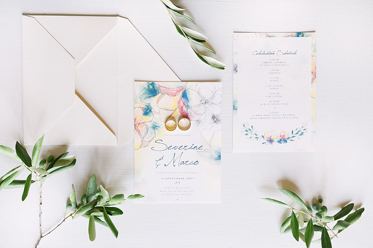 Floral Watercolour Stationery Invitations Romantic Scenic Tuscany Destination Wedding http://ilariapetrucci.co.uk/