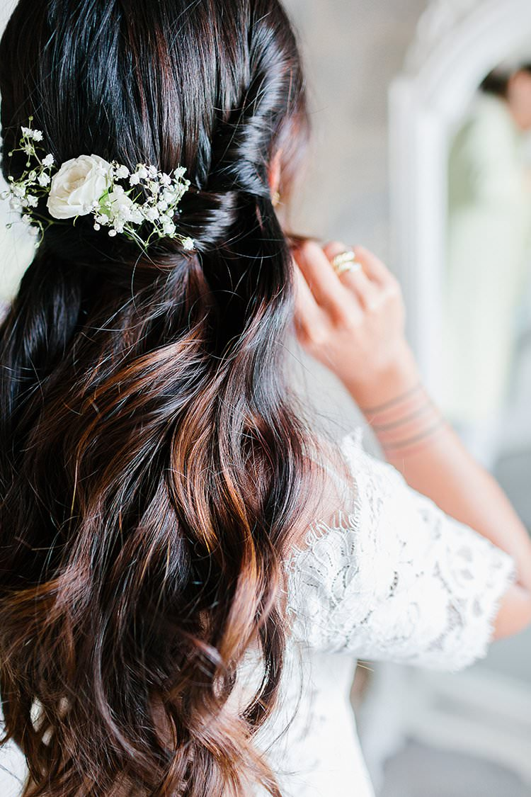 Hair Bride Bridal Long Waves Flowers Twist Romantic Scenic Tuscany Destination Wedding http://ilariapetrucci.co.uk/