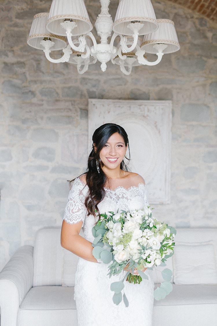 Lace Dress Gown Bride Bridal Sleeves Illusion Back Romantic Scenic Tuscany Destination Wedding http://ilariapetrucci.co.uk/
