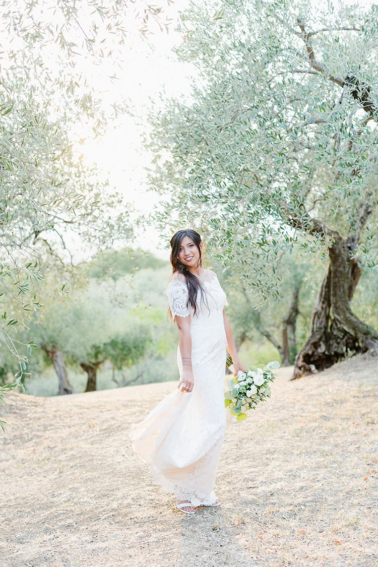 Lace Dress Gown Bride Bridal Sleeves Illusion Back Romantic Scenic Tuscany Destination Wedding http://ilariapetrucci.co.uk/