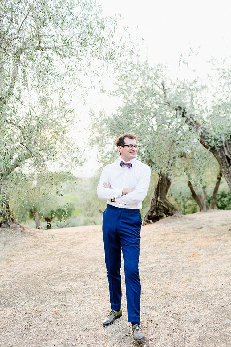 Groom Bow Tie Blue Trousers Romantic Scenic Tuscany Destination Wedding http://ilariapetrucci.co.uk/