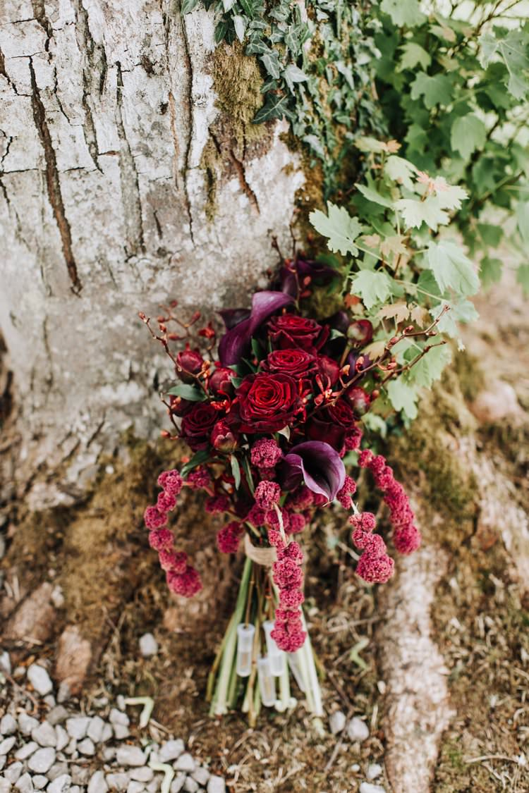 Red Plum Burgundy Flowers Bouquet Bride Bridal Rose Lily Ethereal Opulent Woodland Inspired Wedding http://jaynelindsay.com/
