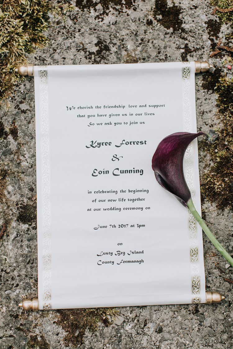 Scroll Stationery Invite Invitation Calligraphy Ethereal Opulent Woodland Inspired Wedding http://jaynelindsay.com/