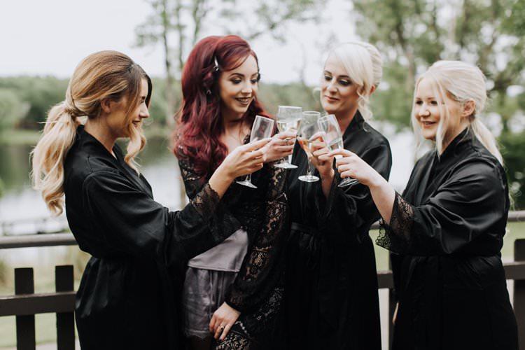 Bride Bridesmaids Black Dressing Gowns Ethereal Opulent Woodland Inspired Wedding http://jaynelindsay.com/