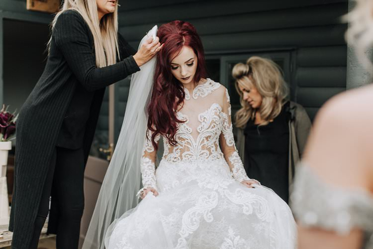 Red Hair Bride Bridal Veil Beaded Couture Julia Kontogruni Illusion Lace Sleeves Dess Gown Ethereal Opulent Woodland Inspired Wedding http://jaynelindsay.com/