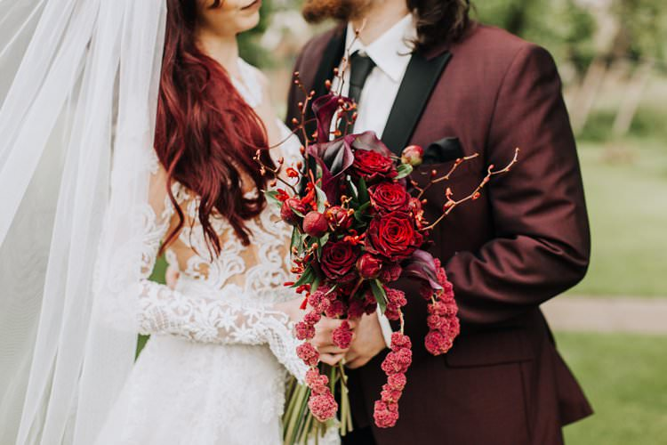 Red Plum Burgundy Flowers Bouquet Bride Bridal Rose Lily Ethereal Opulent Woodland Inspired Wedding http://jaynelindsay.com/