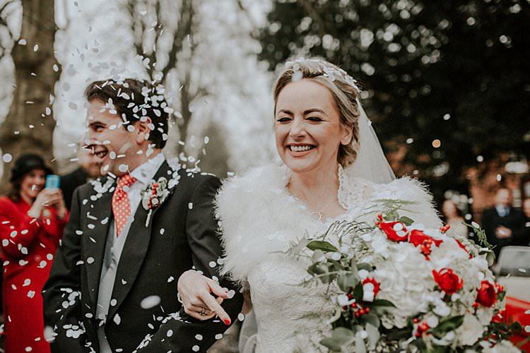 Confetti White Traditional Christmas Wedding Red Festive https://lolarosephotography.com/
