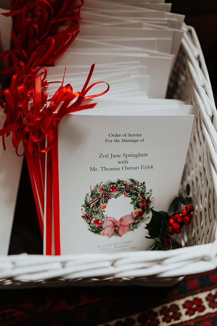Ribbon Wreath Order Service Stationery Traditional Christmas Wedding Red Festive https://lolarosephotography.com/