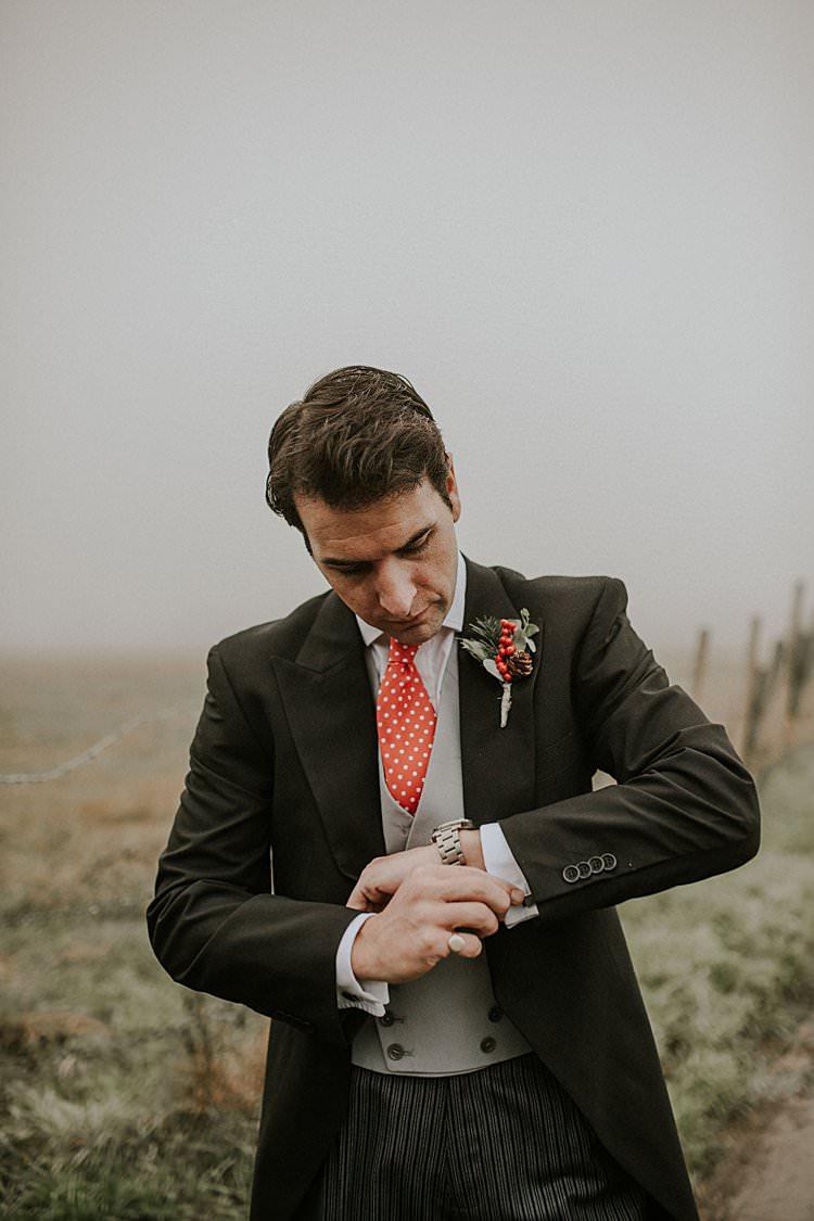 Groom Suit Polka Dot Tie Traditional Christmas Wedding Red Festive https://lolarosephotography.com/