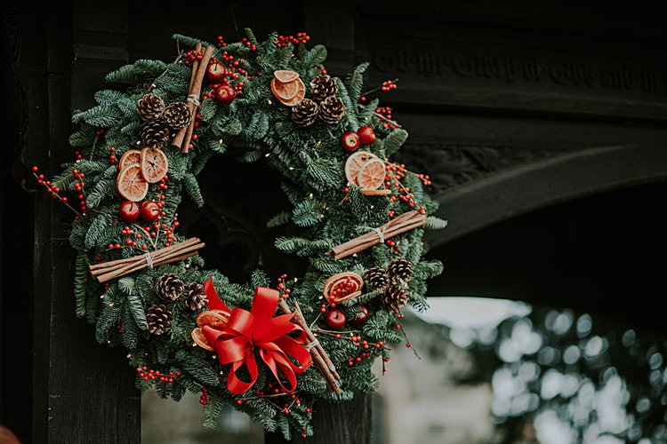 Wreath Decor Traditional Christmas Wedding Red Festive https://lolarosephotography.com/