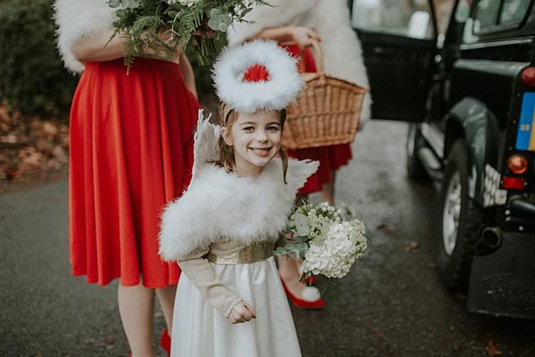 Angel Halo Flower Girl Traditional Christmas Wedding Red Festive https://lolarosephotography.com/