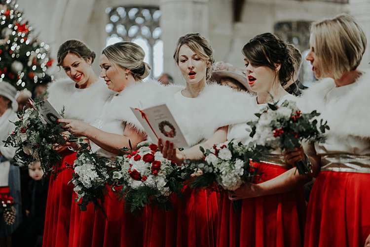 Bridesmaids Red Skirts Traditional Christmas Wedding Red Festive https://lolarosephotography.com/