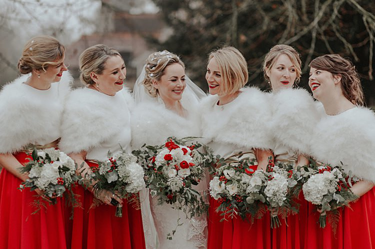 Bridesmaids Skirts Fur Traditional Christmas Wedding Red Festive https://lolarosephotography.com/
