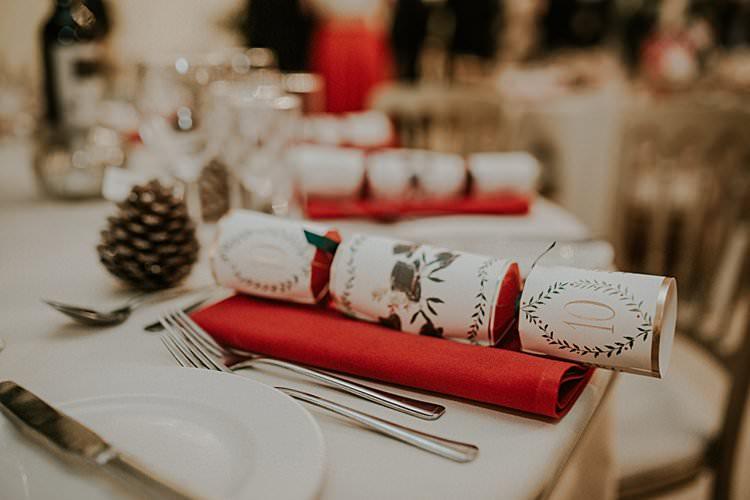 Cracker Favours Traditional Christmas Wedding Red Festive https://lolarosephotography.com/