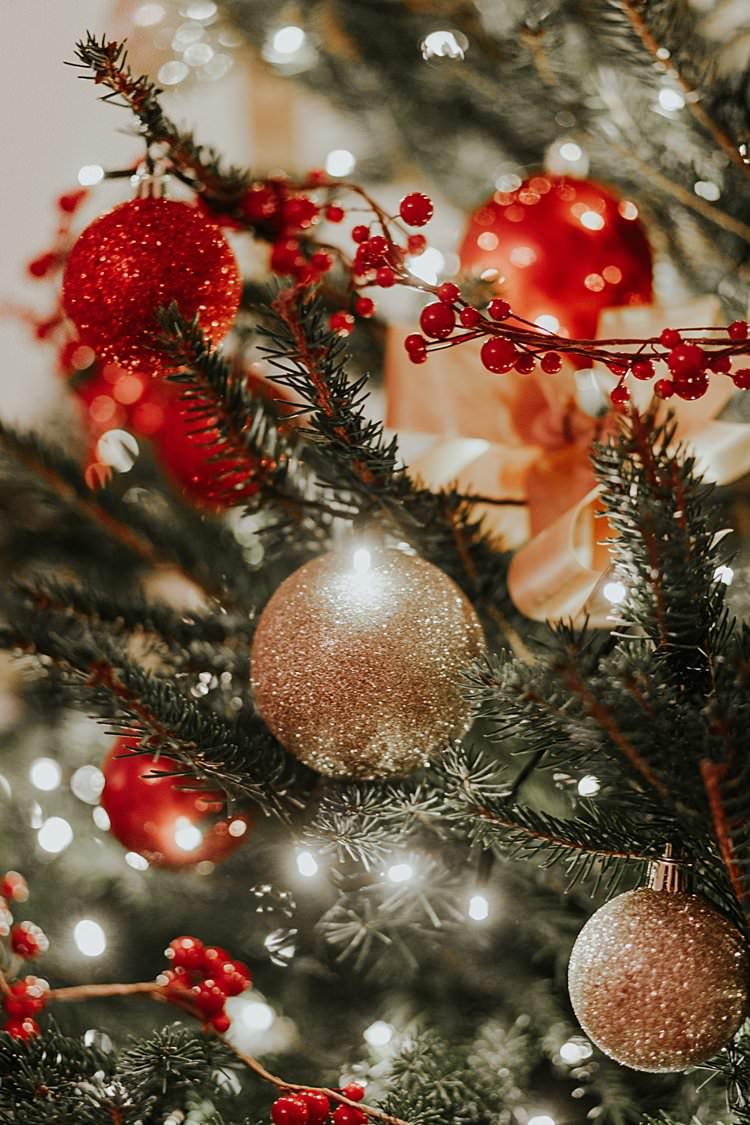 Gold Baubles Tree Decorations Traditional Christmas Wedding Red Festive https://lolarosephotography.com/