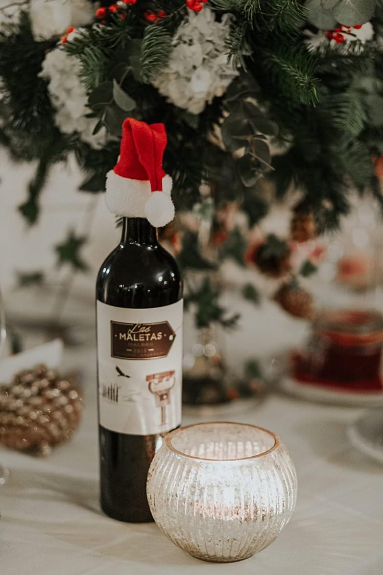 Santa Hat Wine Bottle Traditional Christmas Wedding Red Festive https://lolarosephotography.com/