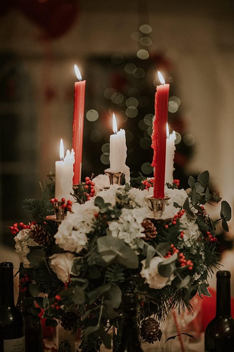 Candelabra Flowers Centrepiece Decor Traditional Christmas Wedding Red Festive https://lolarosephotography.com/