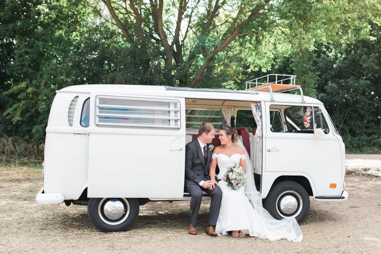Bride Bridal Bardot Dress Gown Grey Suit Groom VW Campervan Darling Hand Made Tipi Garden Wedding https://www.gemmagiorgio.com/