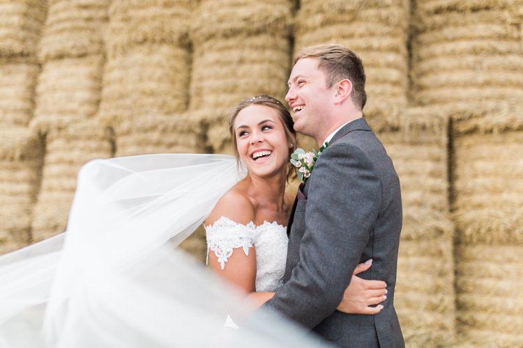 Bride Bridal Bardot Dress Gown Full Length Cathedral Veil Grey Suit Groom Darling Hand Made Tipi Garden Wedding https://www.gemmagiorgio.com/