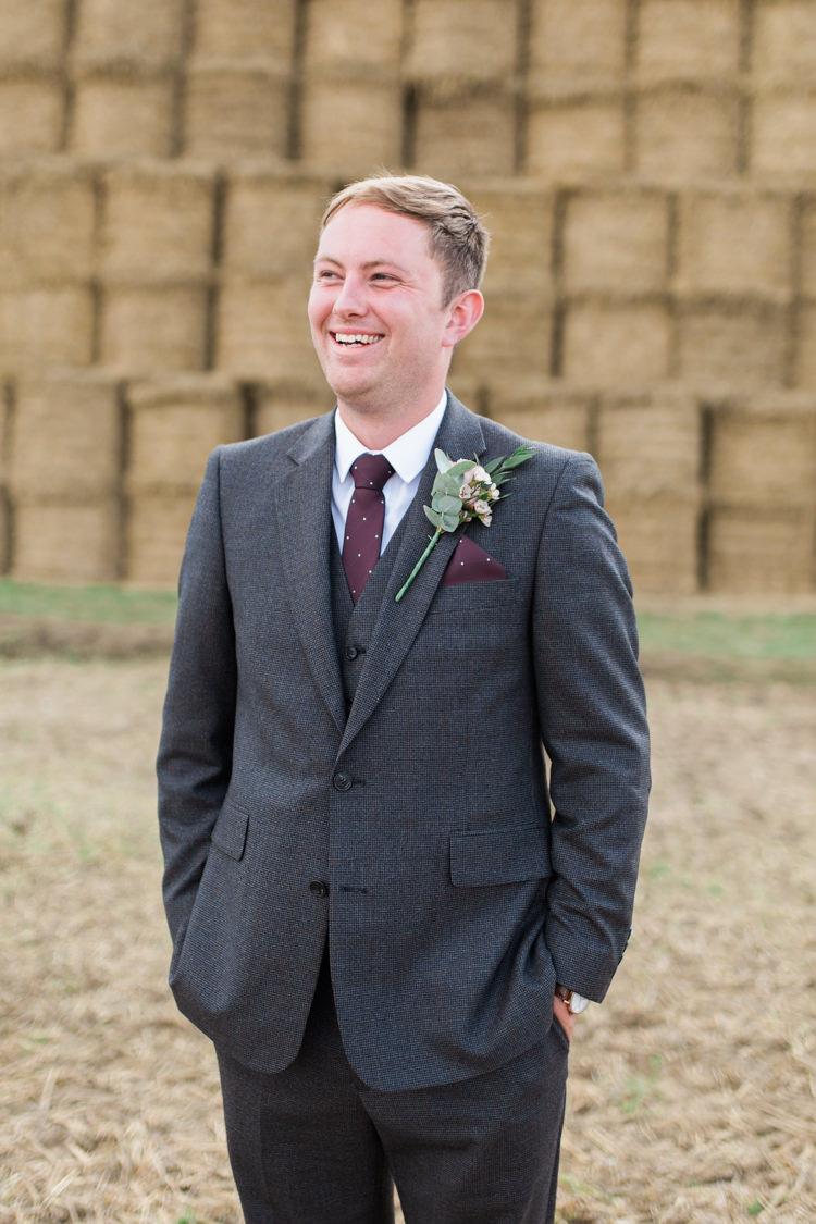 Grey Tweed Three Piece Suit Waistcoat Burgundy Pocket Square Tie Wax Flower Buttonhole Darling Hand Made Tipi Garden Wedding https://www.gemmagiorgio.com/