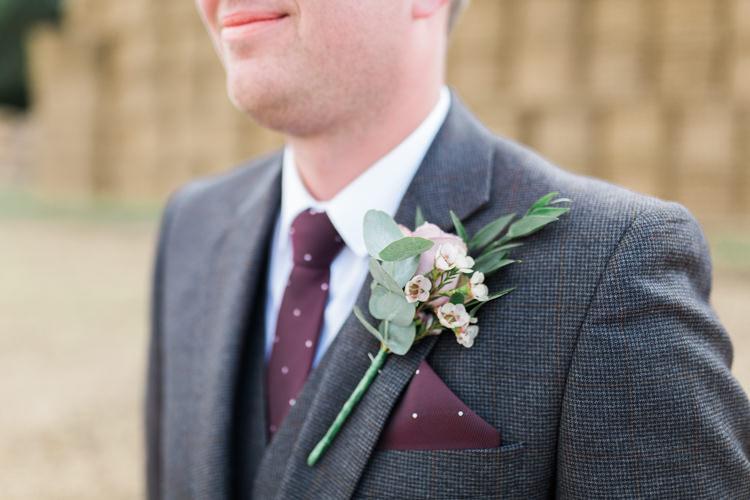 Grey Tweed Three Piece Suit Groom Burgundy Tie Pocket Square Wax Flower Buttonhole Darling Hand Made Tipi Garden Wedding https://www.gemmagiorgio.com/