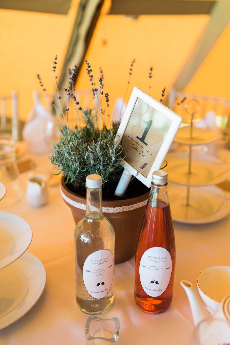 Table Centre Lavender Number Bespoke Drinks Label Darling Hand Made Tipi Garden Wedding https://www.gemmagiorgio.com/