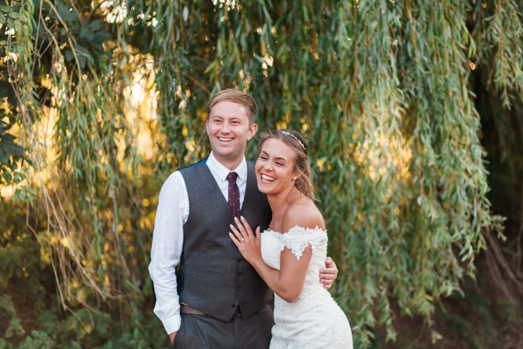 Bride Bridal Bardot Dress Gown Grey Suit Groom Tweed Waistcoat Three Piece Darling Hand Made Tipi Garden Wedding https://www.gemmagiorgio.com/