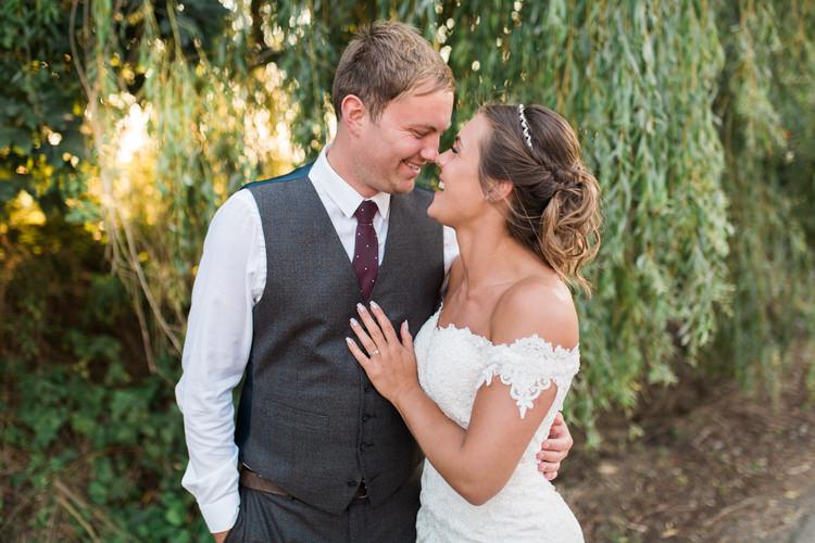 Bride Bridal Bardot Dress Gown Grey Suit Groom Waistcoat Tweed Darling Hand Made Tipi Garden Wedding https://www.gemmagiorgio.com/