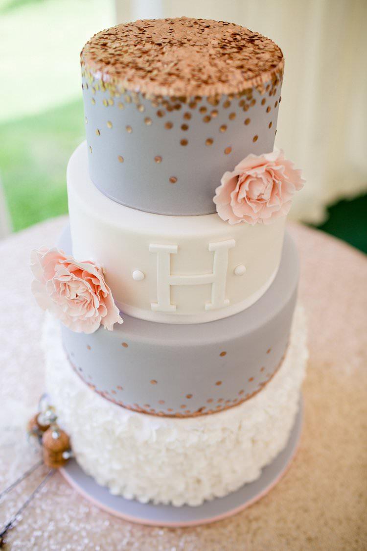 Rose Gold Sequin Cake Grey Ruffle Flowers Pretty Floral Pastels Summer Wedding https://www.binkynixon.com/