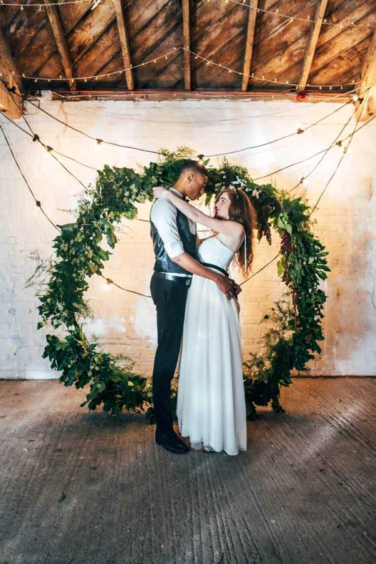 Backdrop Wreath Hoop Flowers Greenery Foliage Celestial Feast Party Wedding Ideas http://www.threeflowersphotography.co.uk/