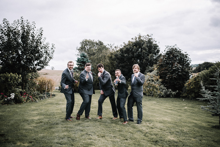 Grey Suits Groom Groomsmen Luxe Rustic Autumn Berry Wedding http://www.oobaloosphotography.co.uk/