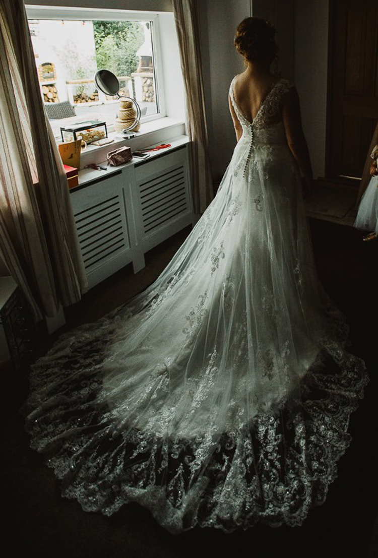 Lace Tulle Gown Ronald Joyce Bride Bridal Train Colourful DIY Floral Luxe Barn Wedding http://www.joemather-photography.co.uk/
