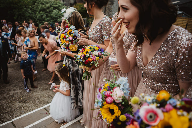 Sequin Bridesmaid Dresses Colourful DIY Floral Luxe Barn Wedding http://www.joemather-photography.co.uk/