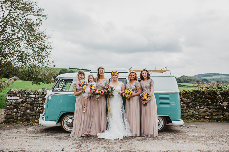 Blush Nude Sequin Bridesmaid Dresses Long Maxi Colourful DIY Floral Luxe Barn Wedding http://www.joemather-photography.co.uk/