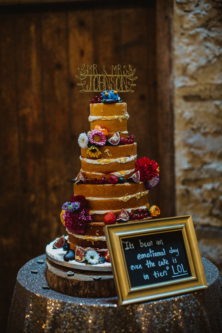 Naked Cake Sponge Victoria Flowers Colourful DIY Floral Luxe Barn Wedding http://www.joemather-photography.co.uk/