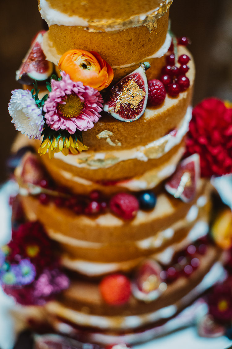 Naked Cake Sponge Fruit Flowers Colourful DIY Floral Luxe Barn Wedding http://www.joemather-photography.co.uk/