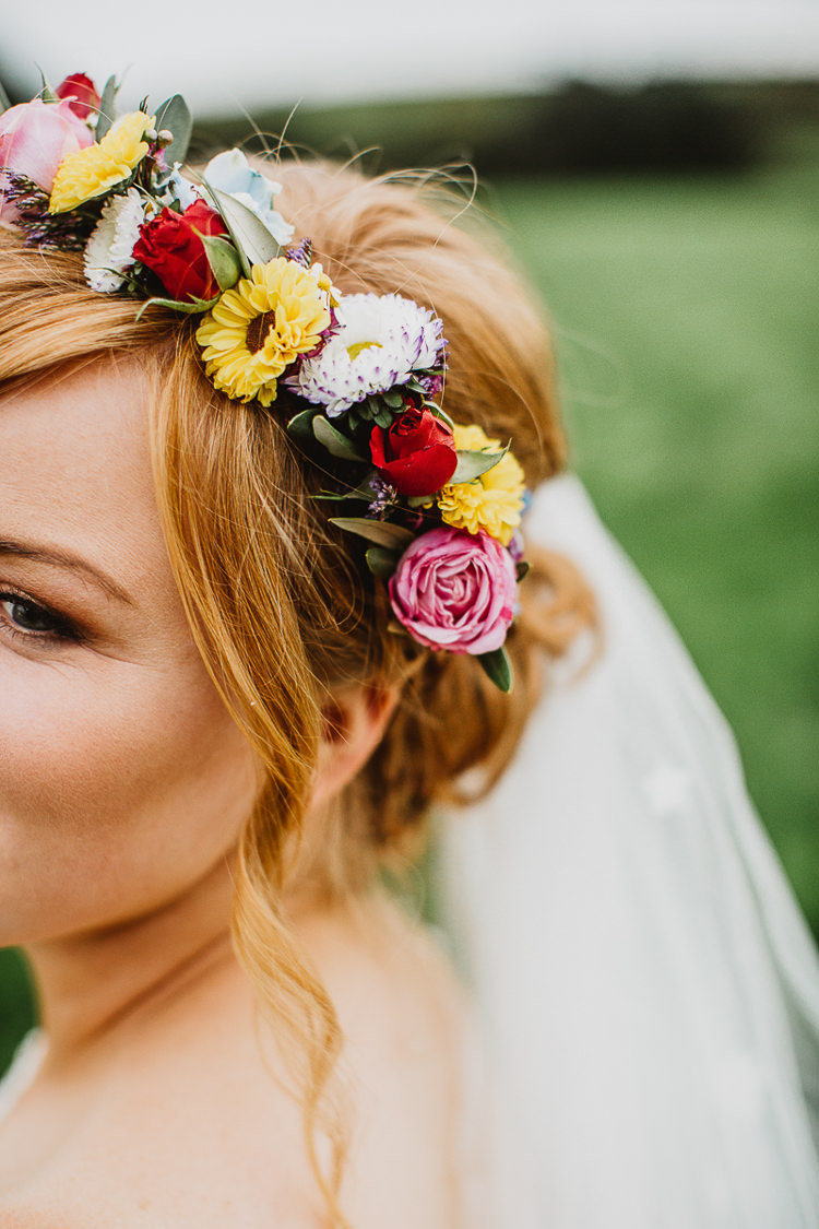 Flower Crown Bride Bridal Headdress Colourful DIY Floral Luxe Barn Wedding http://www.joemather-photography.co.uk/