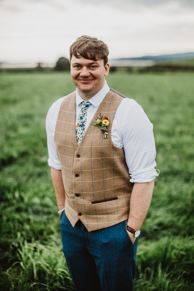 Groom Check Tweed Waistcoat Floral Tie Blue Trousers Colourful DIY Floral Luxe Barn Wedding http://www.joemather-photography.co.uk/
