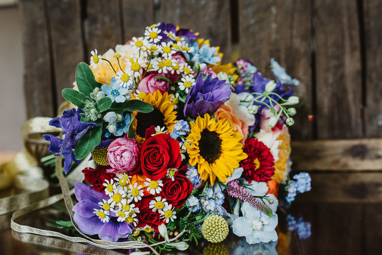Bouquet Flowers Rose Daisy Sunflowers Bride Bridal Colourful DIY Floral Luxe Barn Wedding http://www.joemather-photography.co.uk/