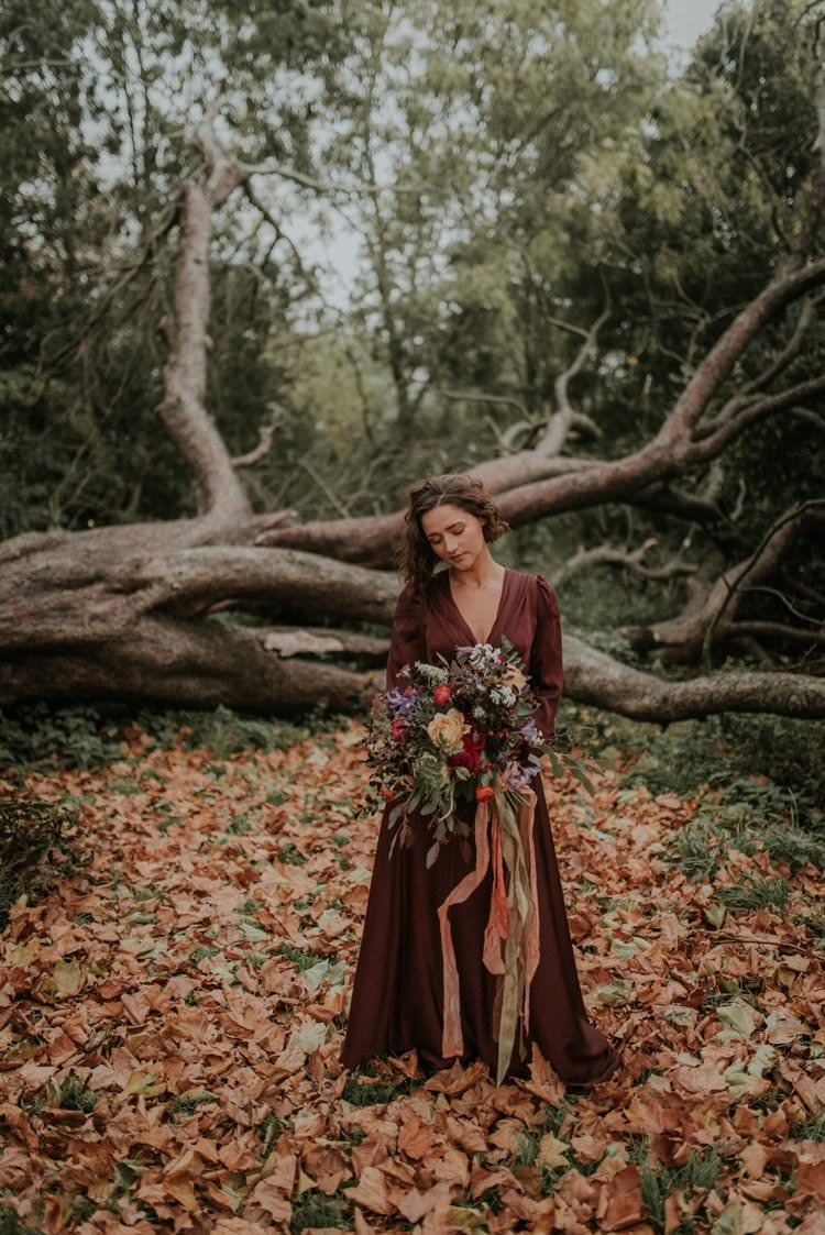 Red Burgundy Dress Gown Bride Bridal Autumn Hygge Wedding Ideas http://meganelle.co.uk/