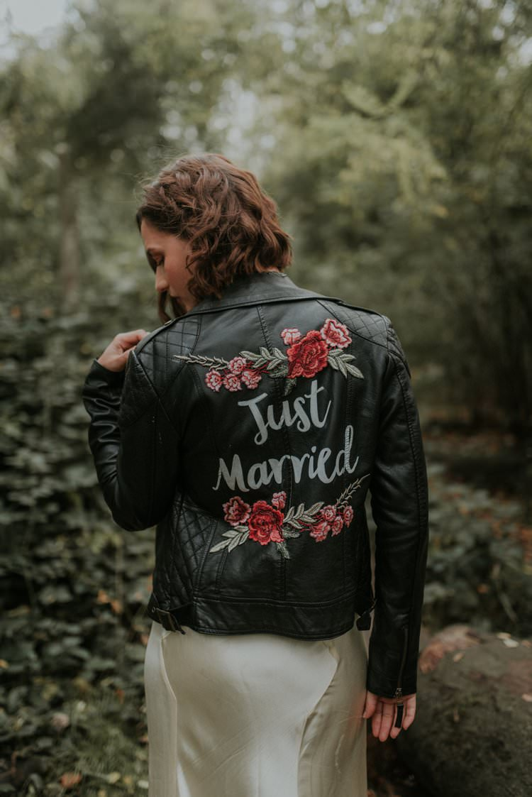 Personlised Illustrated Bride Bridal Leather Jacket Autumn Hygge Wedding Ideas http://meganelle.co.uk/