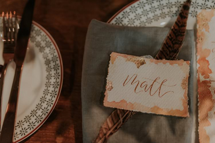 Calligraphy Stationery Paper Place Name Feather Autumn Hygge Wedding Ideas http://meganelle.co.uk/